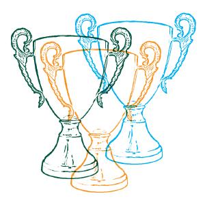 Grafika przedstawiająca zielony, niebieski i pomarańczowy szkic pucharu