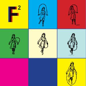 Multikolorowa grafika z obrazkiem dziewczynki skaczącej na skakance