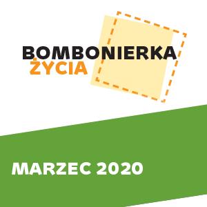 Grafika kolorowa, na górze logo klubu, na dole napis Marzec 2020 na zielonym tle