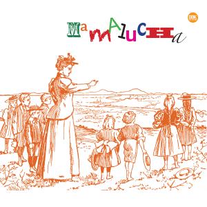 grafika kolorowa ilustracja przedstawia kobietę z dziećmi oraz kolorowy napis mamalucha