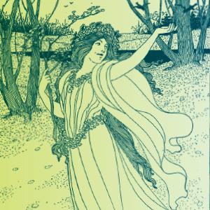 Ilustracja przestawiająca kobietę z wiankiem na głowie wśród drzew